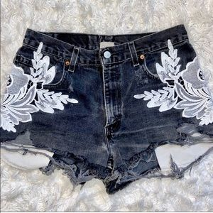 Levi's LF Distressed Dark Gray & White Lace Shorts